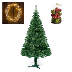 7ft Cedar tree with Warm White Lights and Red-Green Baubles