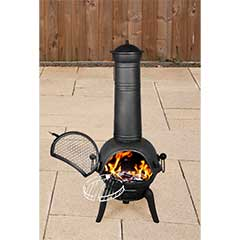 Cast Iron Chiminea with Grill Large  - Black
